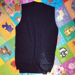 Sweaters - Black Sweater Material Vest